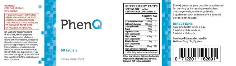 phenq supplement label
